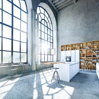 weisse next125-Küche im Industrie-Loft