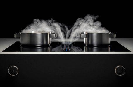 Kochfeldabzug von Bora mit dampfenden Töpfen